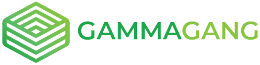 "Logo of the GammaGang team, depicting a stylized box and the text ""GammaGang"" in various shades of green"