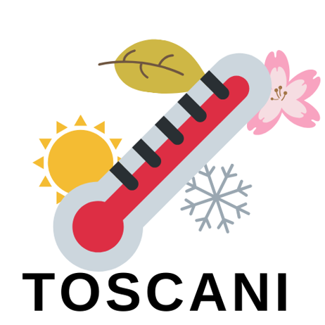 Logo of the Toscani team, depicting a thermometer in front of a sun icon (representing summer), falling leaf (representing fall), snowflake (representing winter), and flower (representing spring)