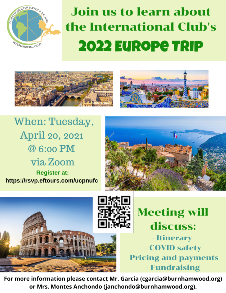 Join us to learn about the International Club's 2022 Europe Trip on Tuesday, April 20, 2021 at 6 P.M. Meeting will discuss itinerary, COVID safety, pricing and payments, and fundraising.