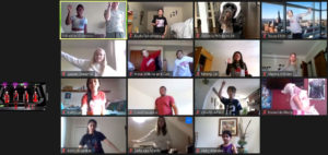 Screenshot from the Zoom Just Dance Event showing fifteen images of students in the midst of various dances