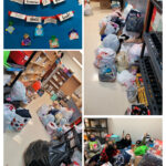 "Clockwise from upper left: a bulletin board saying ""'Tis the season of giving, This class gives back""; bags and boxes of collected items; students pose with some of the collected items; more bags of collected items"